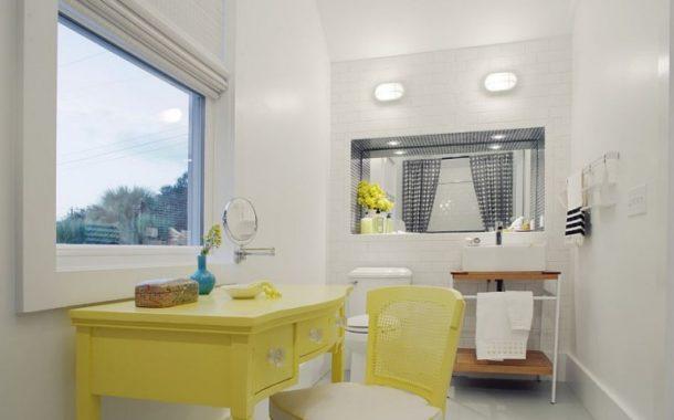 Thiết kế spa cho phòng tắm với sắc vàng